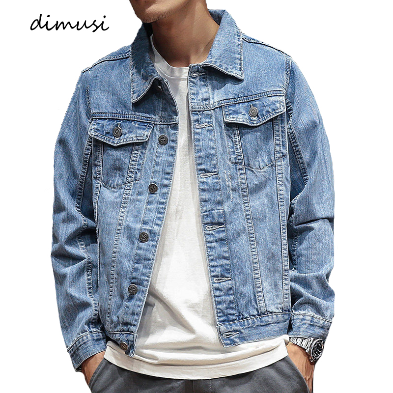 DIMUSI Autumn Mens Denim Jacket Men Trendy Casual Windbreaker Denim Jacket Male Bomber Ripped Cowboy Jeans Jackets Clothing