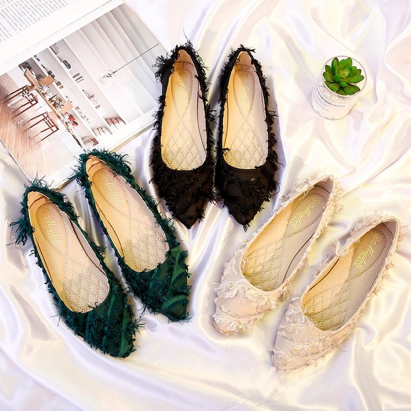 Ballet Flat Shoes Women Fringe Loafers Slip on Slides Comfortable Pointed Toe Shoes Big Size Flats Shoes Black Apricot Green