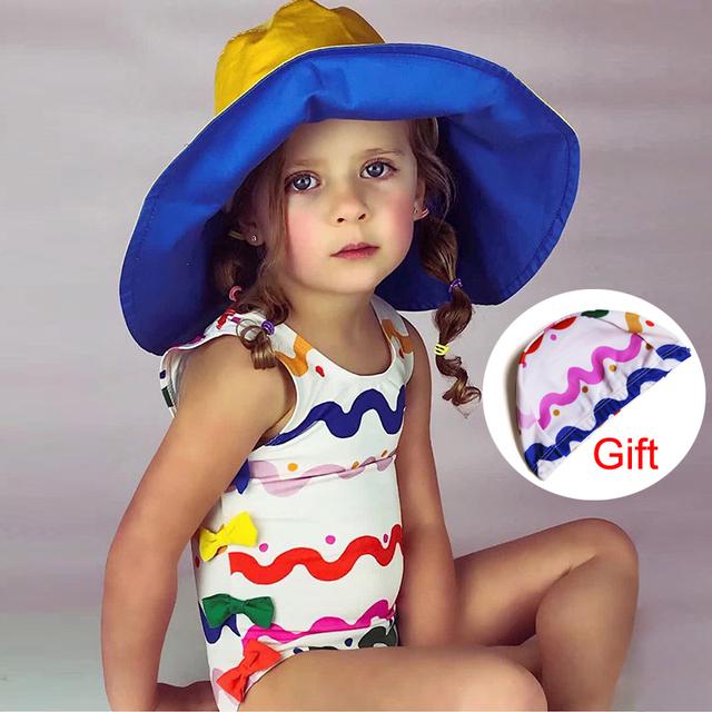 Good Rainbow Wave Stripe Kids Swimwear bow-tie one piece swimsuit girls baby Swim pool train bathing Suit Child 2018 mayo cap