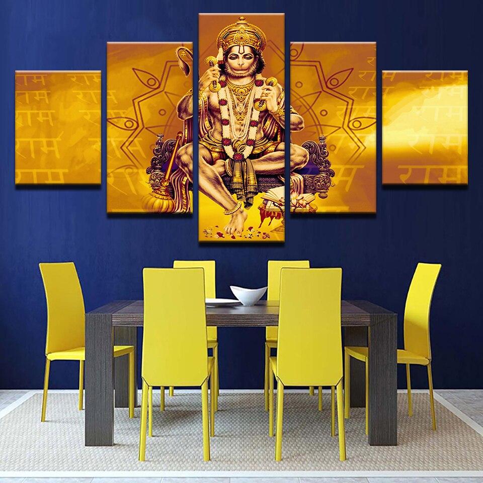 Canvas Prints 5 Pieces India Monkey Lord Hanuman Shri Ram Paintings ...