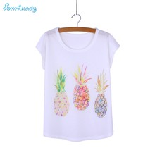e36434444b9 Colorful Three pineapples print women s t-shirts loose style blusas girls  top tees female summer clothes low price wholesale