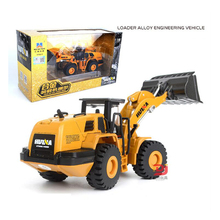 1:50 Alloy Diecast Shovel Loader Car 4 Wheel Loader Pull Back Bulldozer Sound Construction Truck Model For Kids Hobby Toys