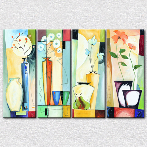 Wholesale Good Price Home Decor Supplies Art Canvas Printed 4pcs Set Abstract Paintings For