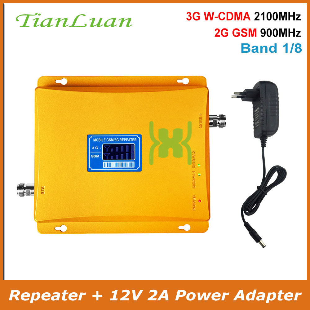 TianLuan Mobile Phone Signal Booster 3G 2G Repeater GSM 900MHz 2100MHz WCDMA UMTS HSAP Cellular Amplifier Band 1, 8 With Power