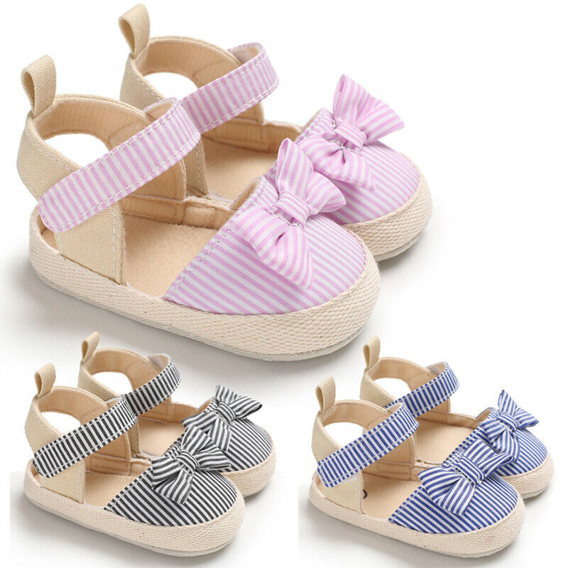 Emmababy Infant Baby Girl Shoes Striped Bow Hook Kids Shoes Newborn Baby Toddler Infant Girl Summer Anti-slip Flat Shoes 0-18M