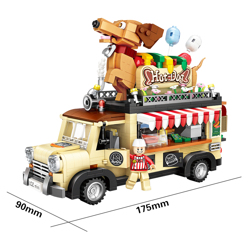 LOZ 1317pcs Hot Dog Truck Car Model DIY Diamond Mini Nano Building Blocks Toys
