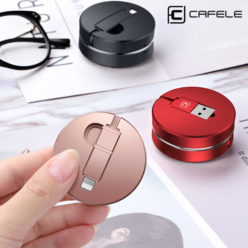 CAFELE Portable 2 in 1 Retractable Cable Micro USB Cable Type C Cable for iphone 8 7 6 Samsung S7 Huawei Honor 9 Xiaomi 5X Phone
