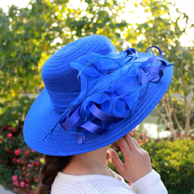 Fashion Women Mesh Kentucky Derby Church Hat With Floral Summer Wide Brim Cap Wedding Party Hats Beach Sun Protection Caps A1