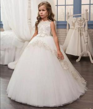 Customized New Flower Girl Dresses Beaded Lace First Communion Dress for Girls Bow Sash Ball Gown Princess Gowns