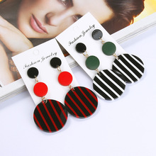 Simple Personality Baitao Long Black-and-white Striped Acrylic Round Earrings Chaohua Wooden Geometric Earnails