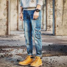 Babbytoro мужские джинсы новый плюс размер хлопок 2017 multi карман джинсовой жан брюки 40 38 36 34 33 32 28