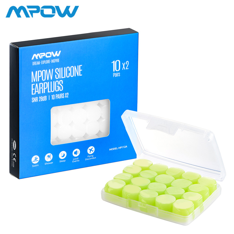 Mpow HP112 20 Pairs Swim Ear Plug Soft Silicone Green/White 28dB SNR Noise Reduction Earplug With 2 Carry Cases For Shower Sleep