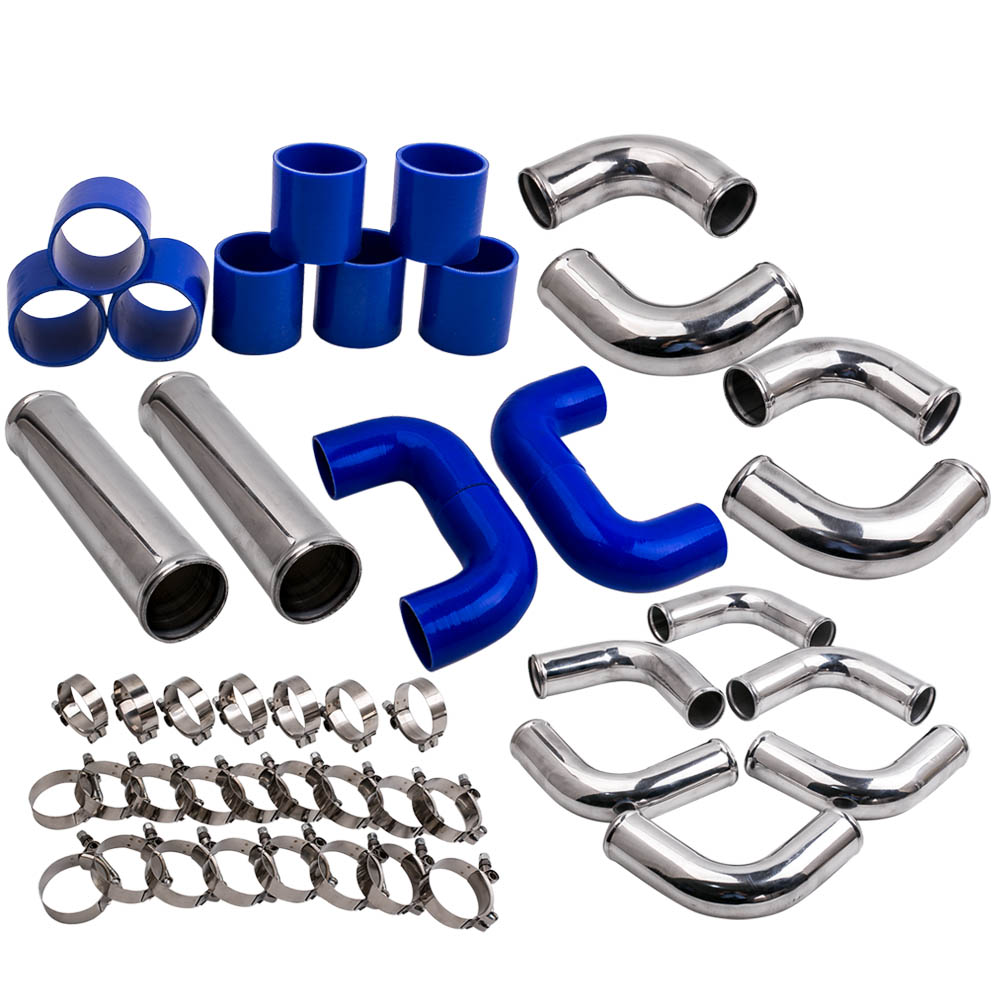 2.5 64mm Aluminum Universal Turbo Intercooler Pipe Kits blue hose T Clamp 12pcs
