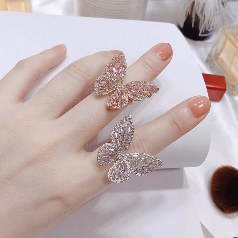 Hollow Zircon Butterfly Open Rings For Women Gold Silver Color Adjustable Female Ring Fashion Engagement Wedding Jewelry Anillos in Wedding Bands from Jewelry Accessories