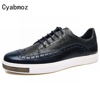 2016 Fashion Patchwork Men Genuine Leather Carved Oxford Shoes Lace Up Thick Bottom Casual Shoes Business