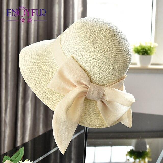 ENJOYFUR Лето Шапки для Для женщин 2018 Новое поступление ленты лук-узел пляжная шляпа Повседневное солнца Шапки для отдыха