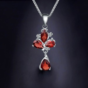 Image 2 - GEMS BALLET 3.42Ct Natural Red Garnet Flower Pendant 925 Sterling Silver Necklaces & Pendants Fine Jewelry For Women Wedding