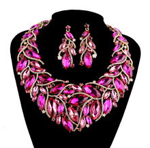 Hot sale Party Statement earrings set Women Fuchsia Blue zirconia Dress Accessories Jewelry sets Rhinestone Bridal Wedding