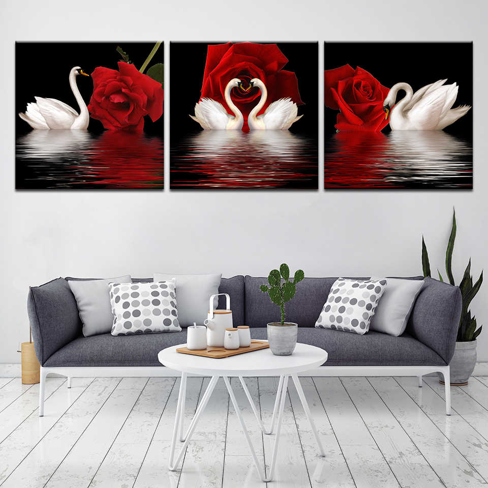 RED TONED SWANS MOONLIGHT CANVAS PICTURE 4 PANEL MULTI SPLIT WALL ART 100cm