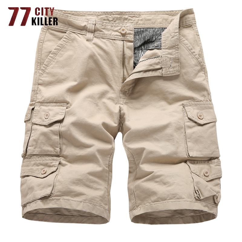 New 2019 Summer Cargo Shorts Men Military Loose Short Pants Combat Outwear Multi-pocket Solid Fit Army Tactical Men Shorts 30-38