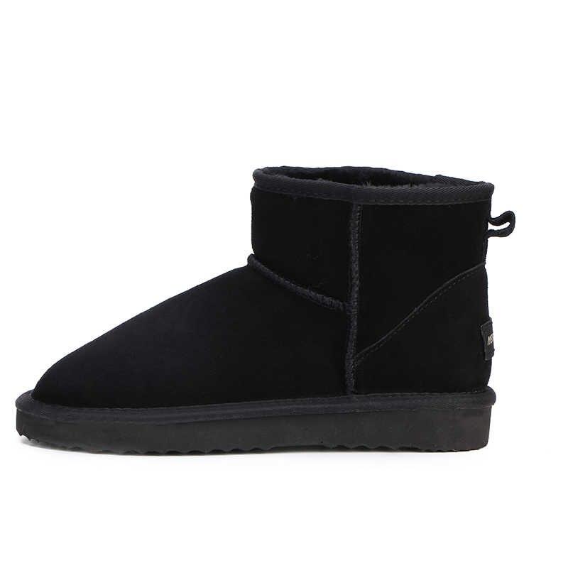 HABUCKN real leather korte enkel suède snowboots voor vrouwen wol bont gevoerde winter schoenen met snowboots rood bruin zwart