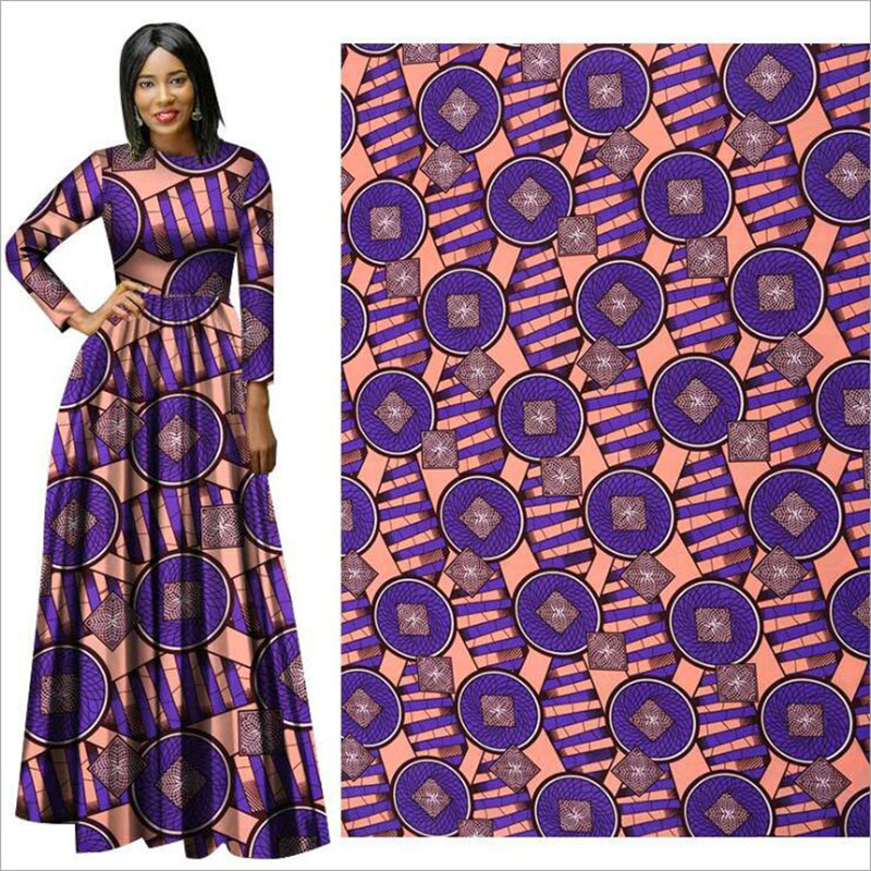 Me-dusa 2019 fashion Pattern African Print Wax Fabric 100% Polyester Hollandais Wax DIY Dress Suit cloth 6yards/lot high quality(China)