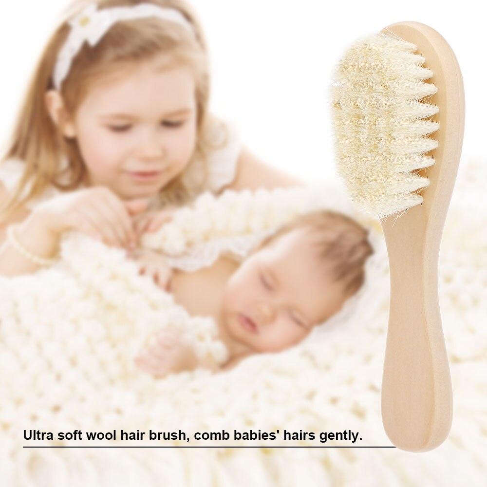 1 Stücke Baby Haarbürste Kamm Holzgriff Neugeborenen Baby Haarbürste Infant Comb Weiche Wolle Haarkopfmassage Für Jungen Und Mädchen