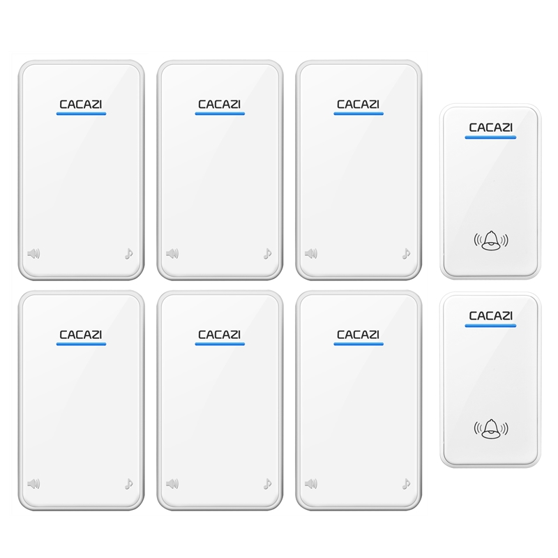 CACAZI DC Wireless Doorbell battery-operated 2 transmitters+6 receivers 300M remote door bell 48 rings 6 volume door chime cacazi ac 110 220v wireless doorbell 1 transmitter 6 receivers eu us uk plug 300m remote door bell 3 volume 38 rings door chime