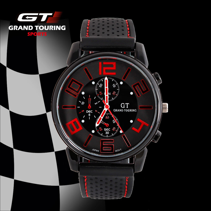 GT WATCH Brand Grand Touring Men Women Silicone Strap Quartz Watch F1 Car Racing Style Military Sports Wristwatch 2016 New novsight auto car led rear bumper warning light break lamp for toyota highlander 2015 2017 red tail light free shipping