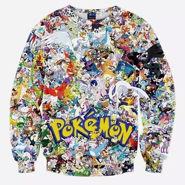 Hoodies Pokemon Hip Hop 3D Crewneck Sweatshirt Fashion Brand Anime Slim Fit Casual Streetwear Hoodies Men Polo Sweat Suit