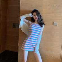Women Sexy Two Piece Outfits Matching Sets Club Kawaii Skirt Set Rainbow Striped Sling Dress + Sunscreen Cardigan