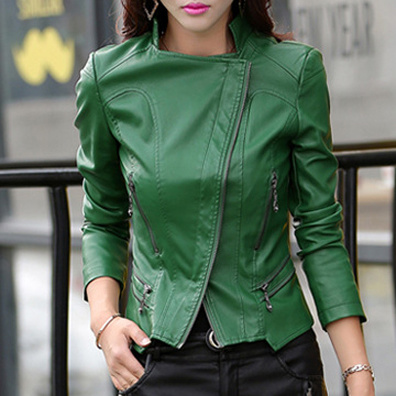 Autumn women Leather short waterproof coat Plus Size 5XL Female locomotive outerwear Slim PU Leather Motorcycle thin Jacket