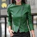 Otoño de las mujeres de Cuero corta capa impermeable Más Tamaño 5XL locomotora Femenino prendas de vestir exteriores Delgada de LA PU Cuero de La Motocicleta Chaqueta delgada