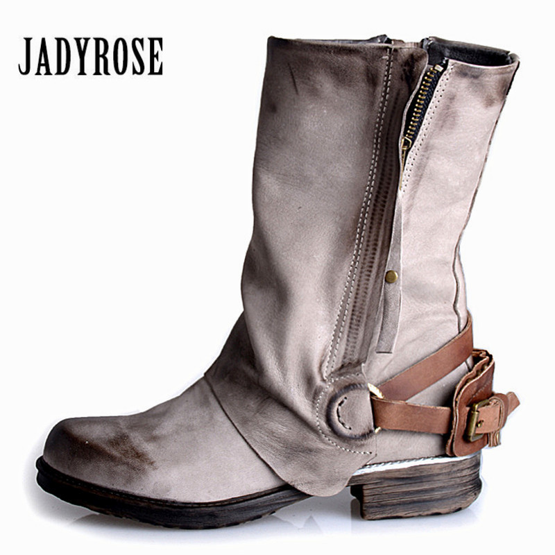 JADY ROSE Gray Women Ankle Boots Genuine Leather Flat Booties Autumn Winter Botas Militares Female Martin Boot Botines Mujer women martin boots 2017 autumn winter punk style shoes female genuine leather rivet retro black buckle motorcycle ankle booties