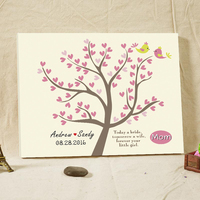 Bridal Shower Favors Guest Book Rustic Wedding Custom Wedding Decoration Canvas Book Wooden Frame for Mom with Love Birdes Tree