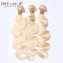 613 Blonde Brazilian Body Wave Hair Weave 3 Bundles 100% Human Hair Weave 12-30 inch Remy Blonde Dream me Queen Hair Products(China)