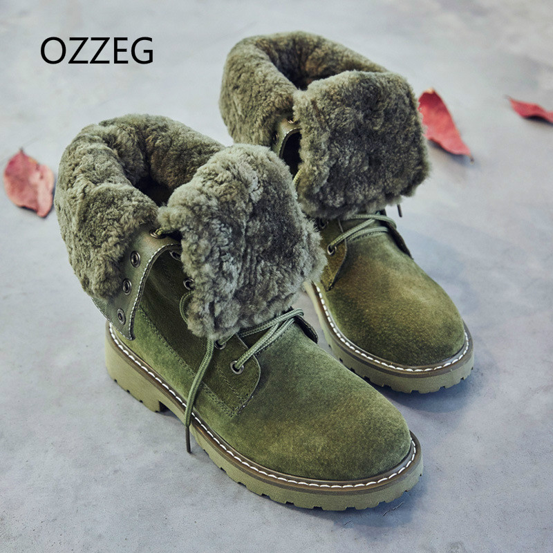 цена на Women Ankle Boots Genuine Leather Martin Boots Fashion Shoes Woman Snow Boots Autumn Winter Plush Fur Warm Mujer Bota Feminina