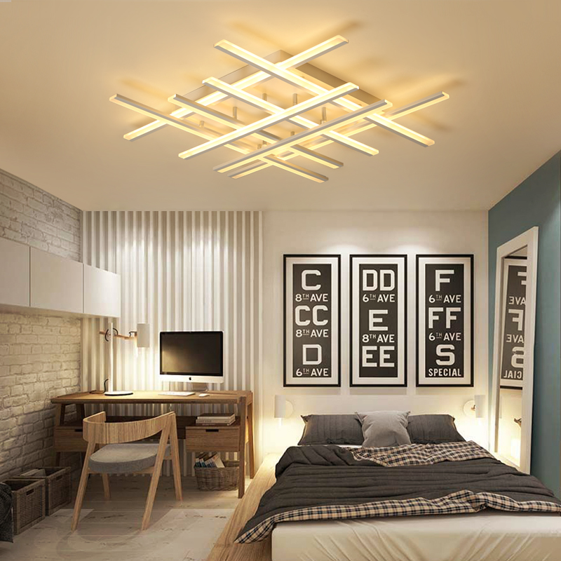 Creative Line Modern Ceiling Light Dimmable LED Ceiling Lamp Surface Mounted Lighting Fixture for Living Room Bedroom Dinning