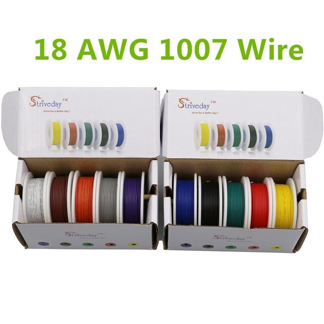 Caja de mezcla de 5 colores, 25m UL 1007 18AWG, 1 caja, 2 paquetes, línea de Cable Eléctrico, Cable PCB de cobre para línea aérea