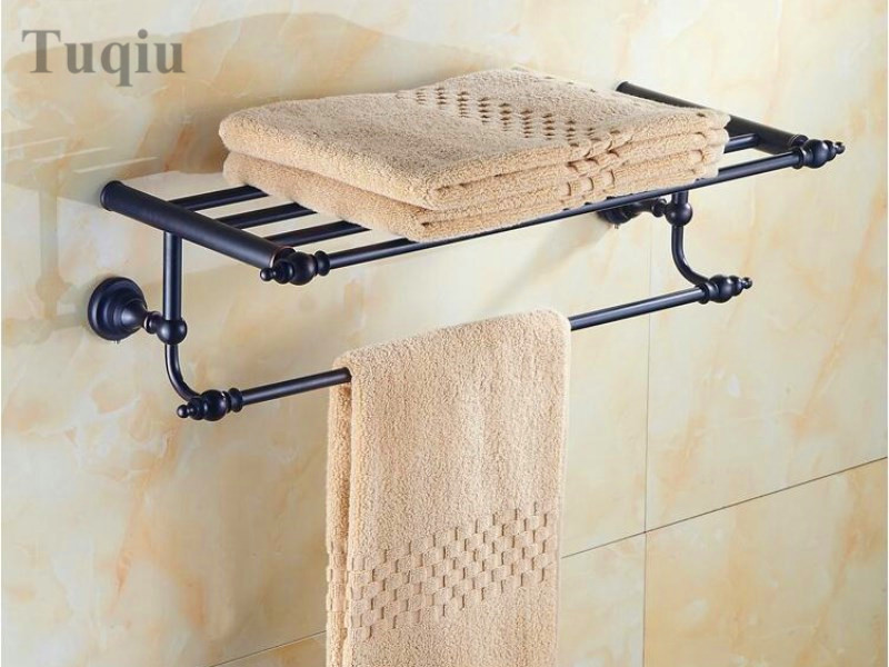 High Quality Oil black Fixed Bath Towel Holder Brass Towel Rack Holder for Hotel or Home Bathroom Storage Rack Rail Shelf high quality antique fixed bath towel holder brass fodabletowel rack holder for hotel or home bathroom storage rack rail shelf