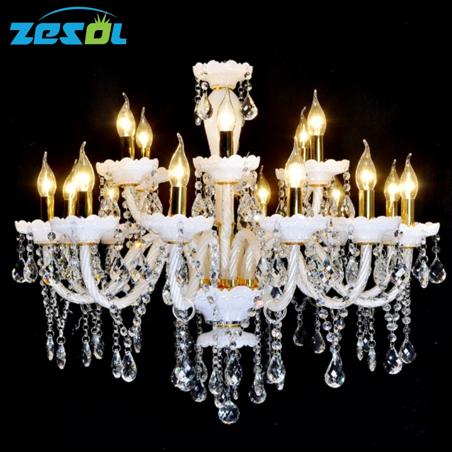 ZESOL plafon crystal modern led chandeliers hand blown glass large lighting pending lamps antique