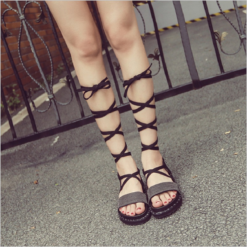 Party Platform Shoes Gladiator Sandals Women Sandalias mujer 2018 Punk String Bead Black Leather Knee High Sandals Women Q0171