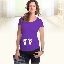 European American Plus Size Summer Apparel Baby Footprints Printed Cotton Pregnant Women T Shirt Creative font