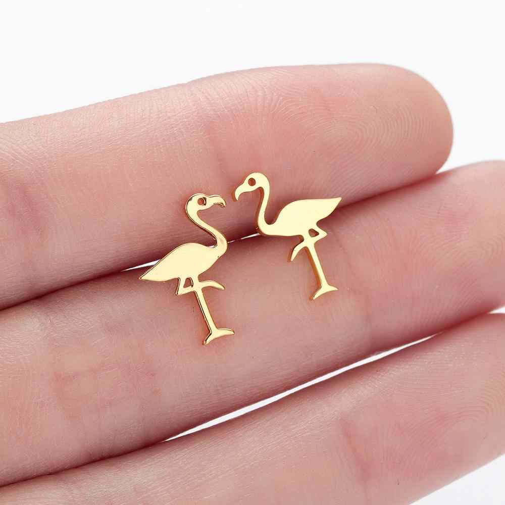 Chandler Tiny Small Stainless Steel Flamingo Earrings Bird Studs Mini Gift Vintage Animal Jewelry Wholesale Drop Shipping