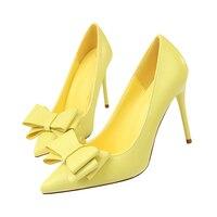 2019 Plus Size 43 Woman Fetish 10cm High Heels Scarpins Shoes Blue Yellow Escarpins Heels Stiletto Wedding Valentine Prom Pumps