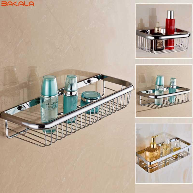 BAKALA Brass Bathroom Accessories Corner Shelf,Chrome Finished Wall Mounted Bath Shower Caddy