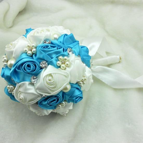 Blue And White Rhinestone Pearl Wedding Bouquets Bridal Flower Real Image De Novia Mariage Artificial Bridesmaid Accessoires