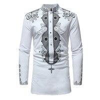 Longline Stand Collar Tribal Ethnic Shirt Men African Clothes 2018 Brand New African Dashiki Maxi Man Shirt Men Robe Africaine
