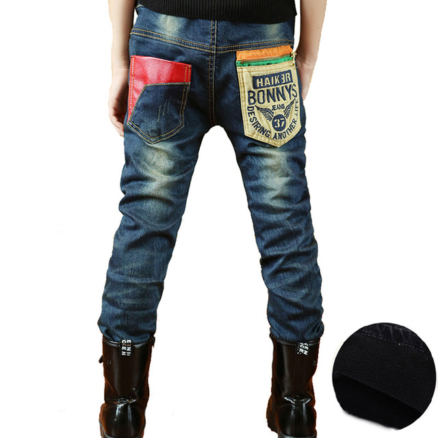 New Kids Jeans Boys Trousers 2016 Autumn Winter Thick Warm Baby Boy Jenas Design Brand Jeans Pants Children Elastic Waist Pants