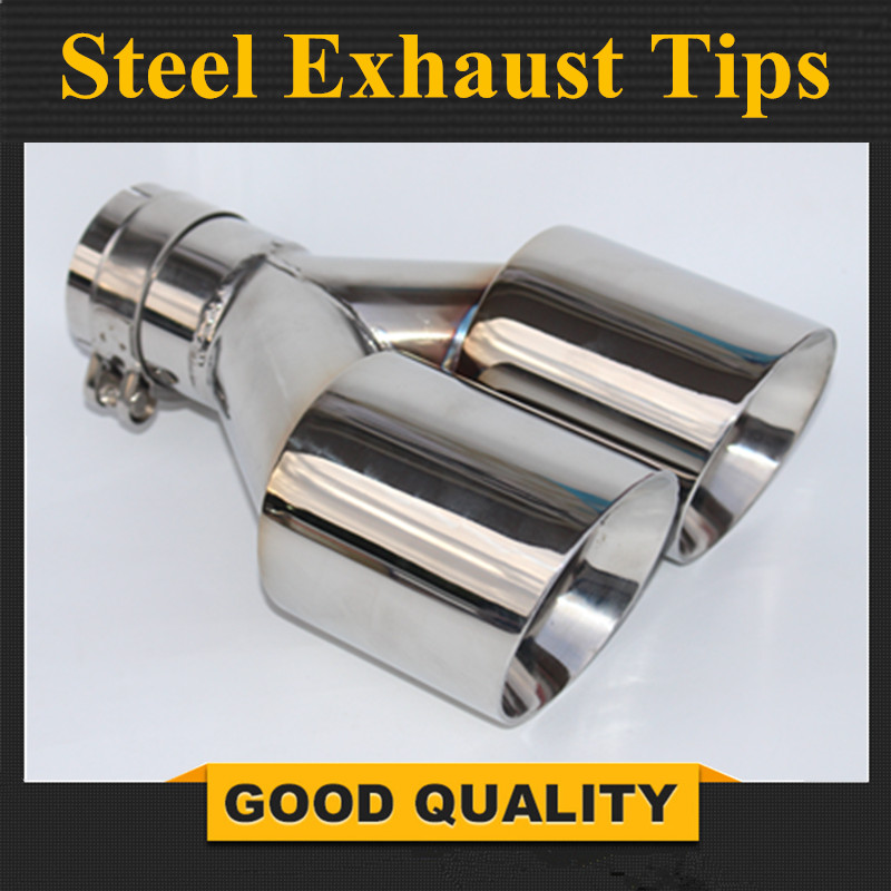 1PCS 63mm Inlet 89mm Outlet Stainless Steel Car Exhaust Tip 304 Stainless Steel Exhaust Muffler Dual